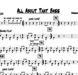 "Preview of the drum chart for ""All About That Bass"" by Meghan Trainor"