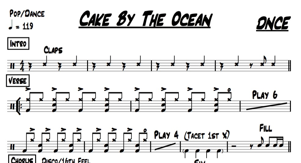 "A preview of the drum chart for ""Cake By The Ocean"" by DNCE"