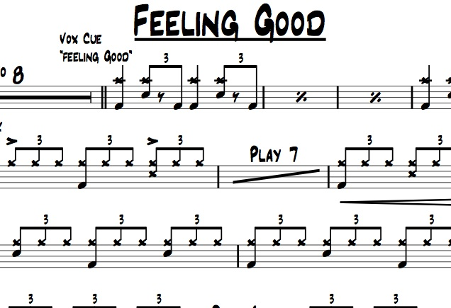 "A preview of the drum chart ""Feeling Good"" performed my Michael Buble"
