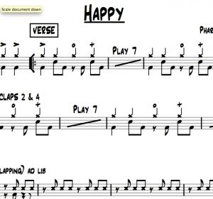 """A preview of the drum chart for """"Happy"""" performed by Pharrell Williams"""