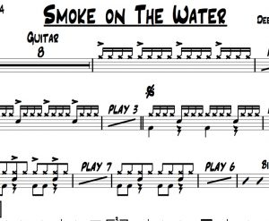 "Preview of the drum chart ""Smoke On the Water"" by Deep Purple"