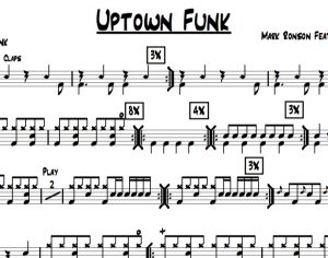 "Preview of the drum chart for ""Uptown Funk"" by Bruno Mars"