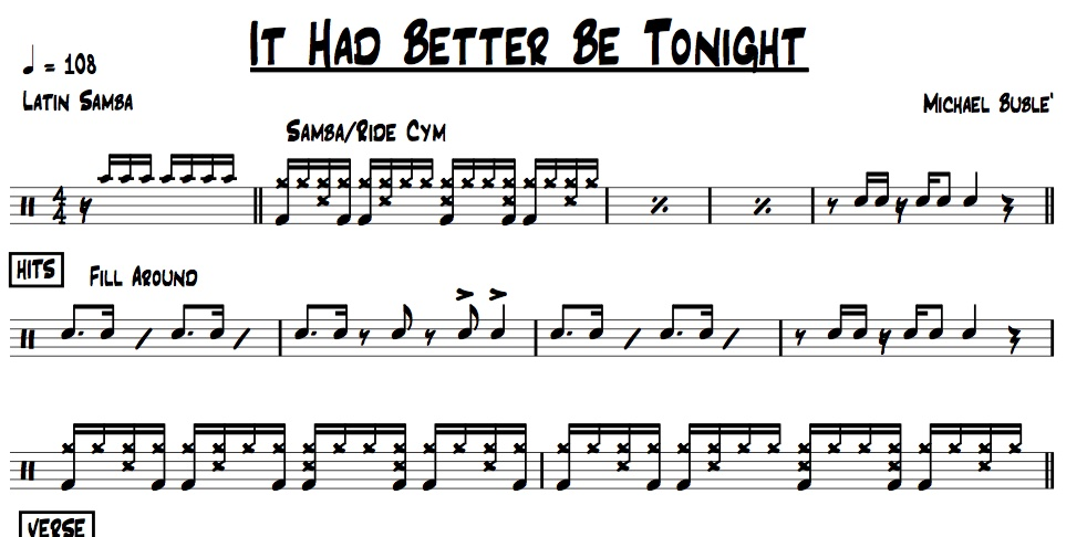 "Preview of drum chart for ""it Had Better Be Tonight"" performed by Michael Buble"