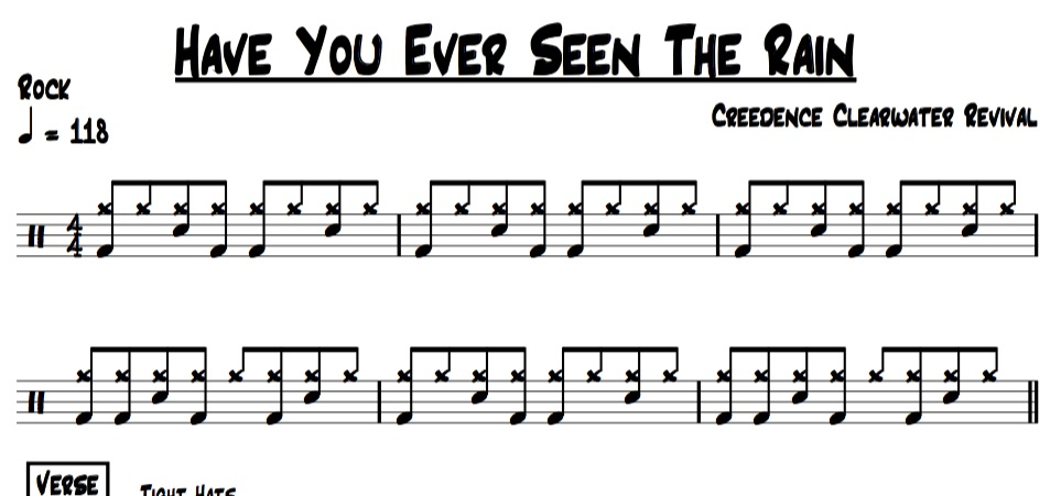 """Example of """"Have you ever seen the rain"""" drum chart"""