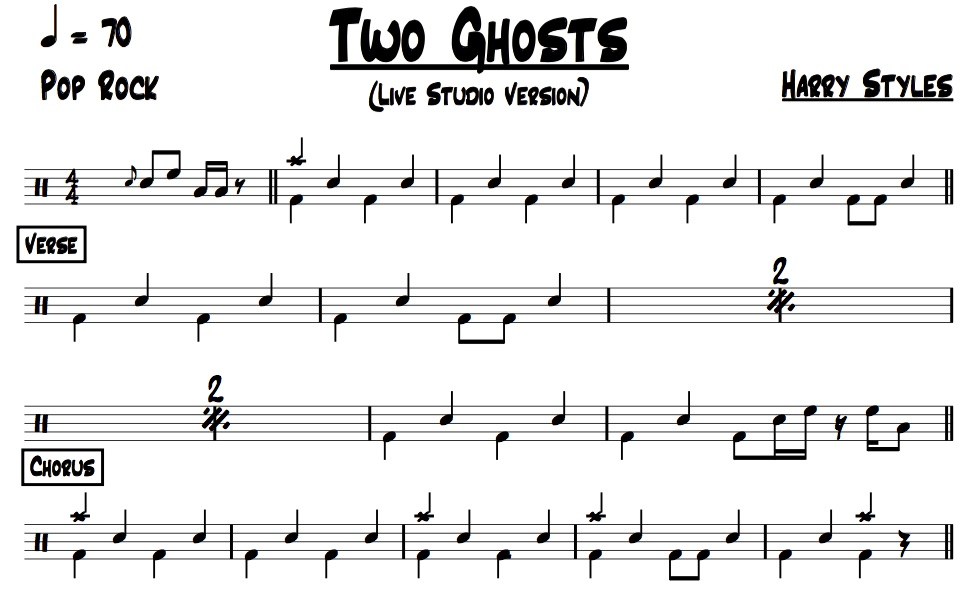 Sample image of drum chart for Two Ghosts
