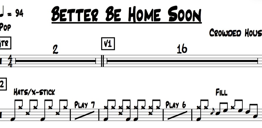 Sample Image of Drum Chart for Better Be Home Soon By Crowded House