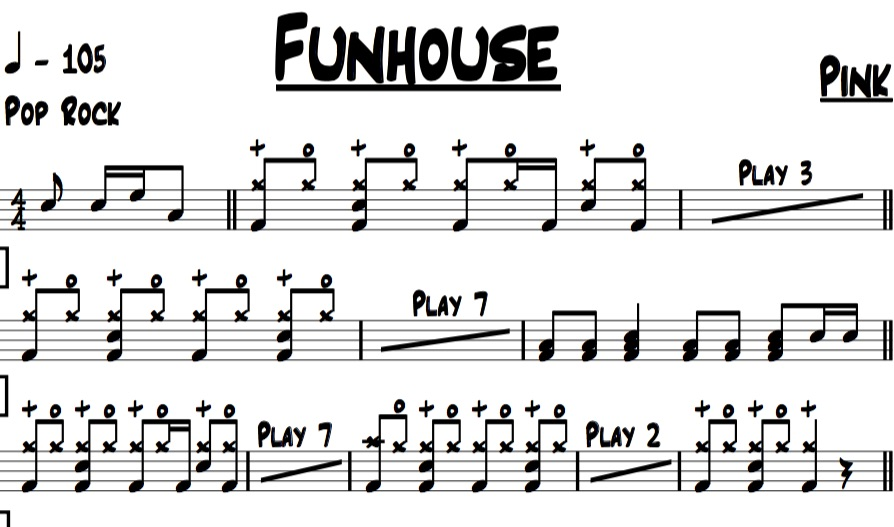 sample image of the drum chart for funhouse by pink