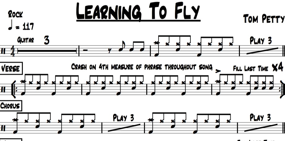 sample image of drum chart for learning to fly by tom petty and the heartbreakers