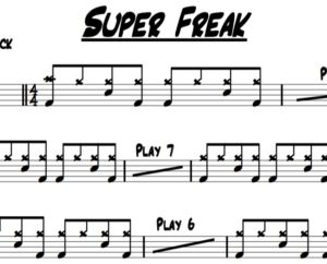 A sample picture of the drum sheet music for Super Freak by Rick James